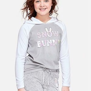 NWT Justice Snow Bunny Hooded Pajama Top